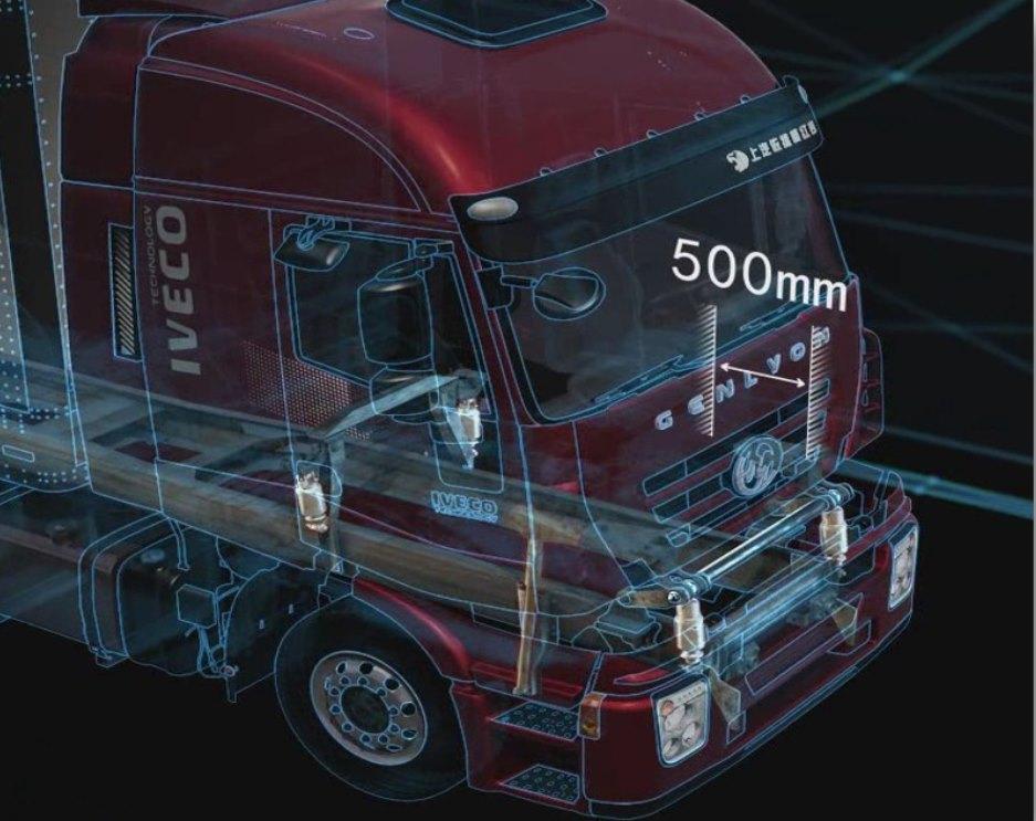 Cabin xe tải ben IVECO-Hongyan có thể giật lùi lại 500mm khi xảy ra va chạm trực diện